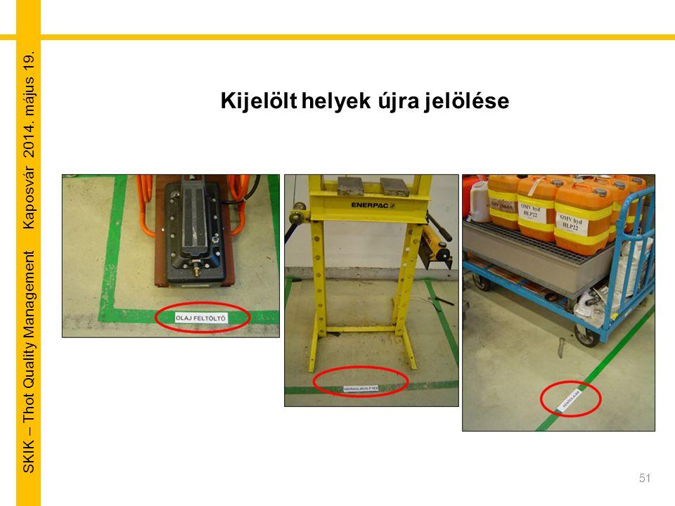 SKIK – Thot Quality Management Kaposvár 2014. május 19. Kijelölt helyek újra jelölése 51