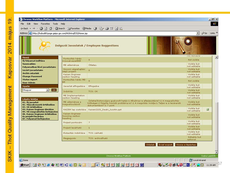 SKIK – Thot Quality Management Kaposvár 2014. május 19. 57