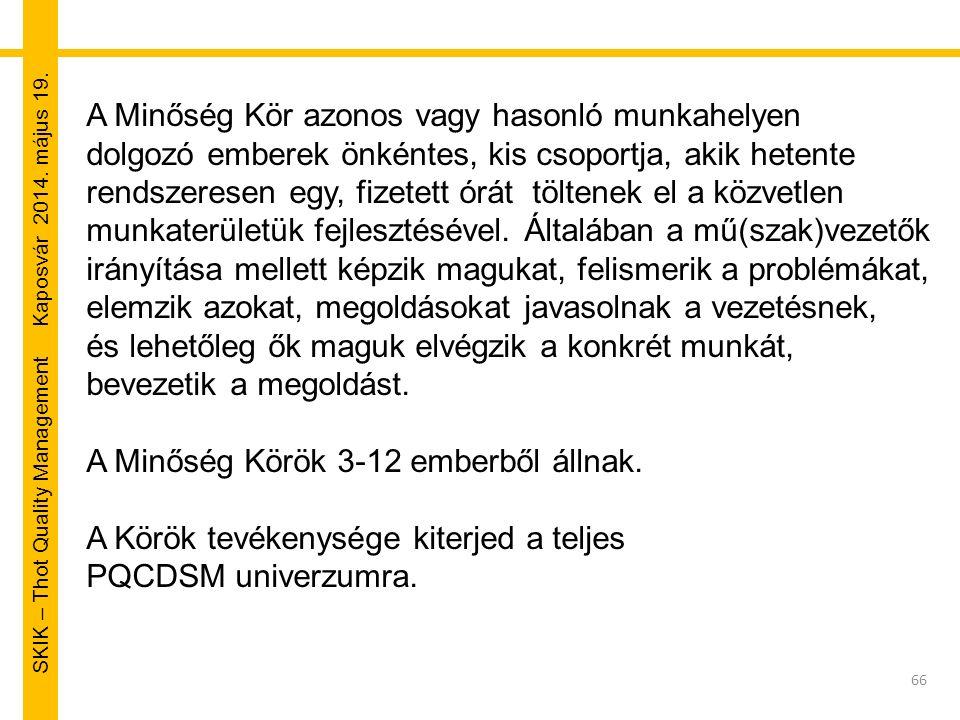 SKIK – Thot Quality Management Kaposvár 2014. május 19. 66 A Minőség Kör azonos vagy hasonló munkahelyen dolgozó emberek önkéntes, kis csoportja, akik