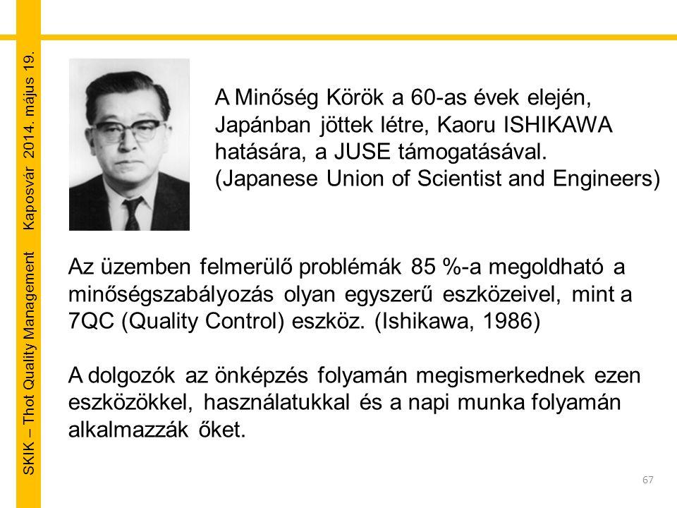 SKIK – Thot Quality Management Kaposvár 2014. május 19. 67 A Minőség Körök a 60-as évek elején, Japánban jöttek létre, Kaoru ISHIKAWA hatására, a JUSE