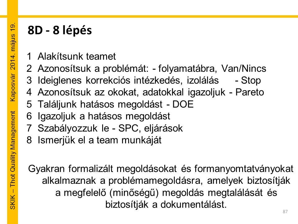 SKIK – Thot Quality Management Kaposvár 2014. május 19. 8D - 8 lépés 1Alakítsunk teamet 2Azonosítsuk a problémát: - folyamatábra, Van/Nincs 3Ideiglene