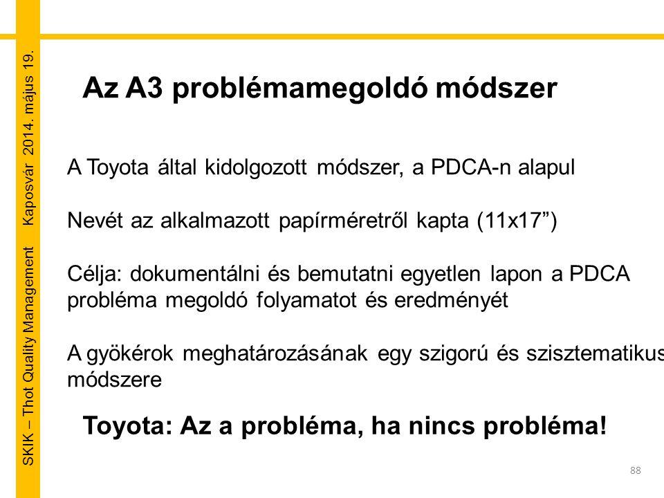 SKIK – Thot Quality Management Kaposvár 2014. május 19. Az A3 problémamegoldó módszer A Toyota által kidolgozott módszer, a PDCA-n alapul Nevét az alk