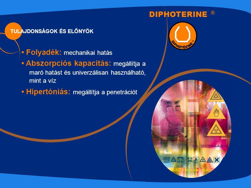 TULAJDONSÁGOK ÉS ELŐNYÖK DIPHOTERINE ® Folyadék: mechanikai hatás Abszorpciós kapacitás: megállítja a maró hatást és univerzálisan használható, mint a víz Hipertóniás: megállítja a penetrációt