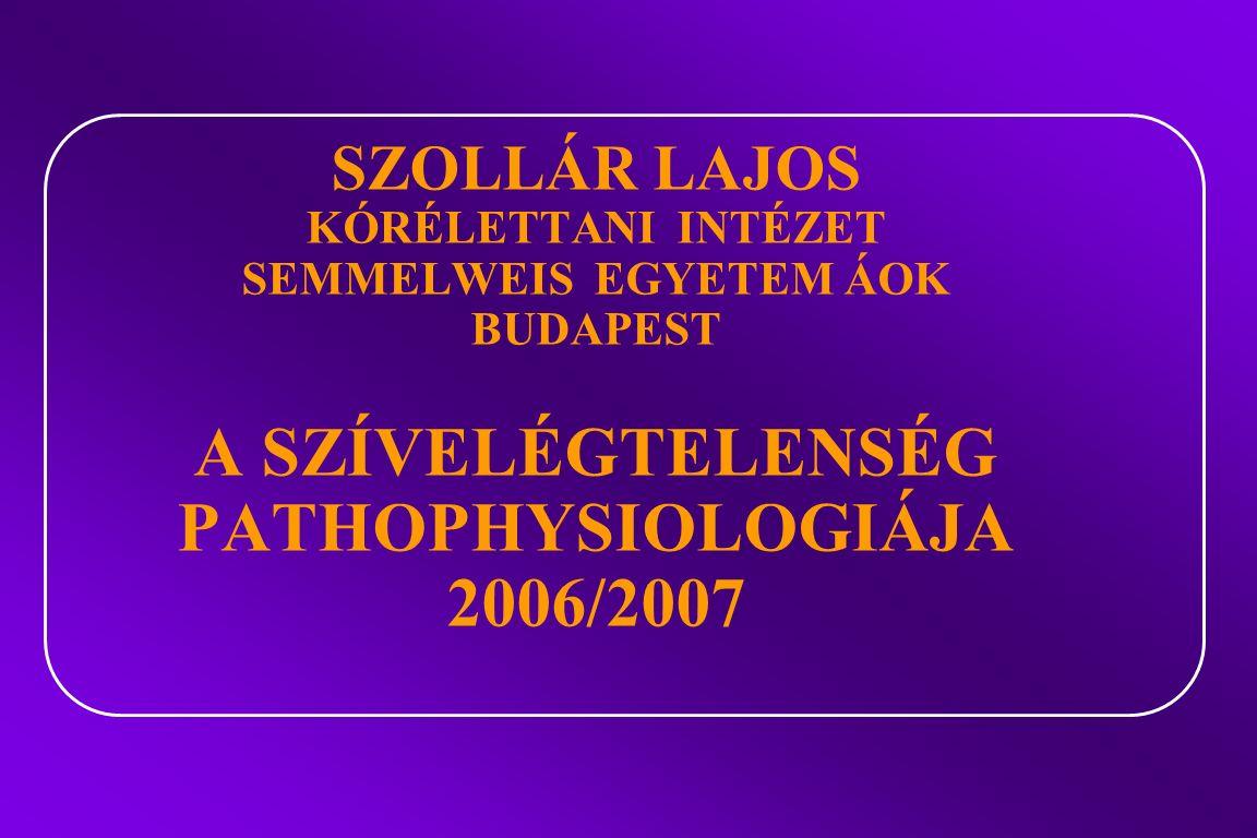 SZOLLÁR LAJOS KÓRÉLETTANI INTÉZET SEMMELWEIS EGYETEM ÁOK BUDAPEST A SZÍVELÉGTELENSÉG PATHOPHYSIOLOGIÁJA 2006/2007