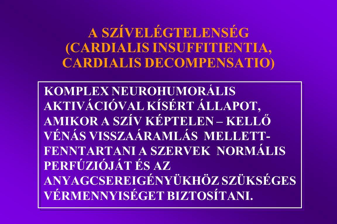 A SZÍVELÉGTELENSÉG (CARDIALIS INSUFFITIENTIA, CARDIALIS DECOMPENSATIO) KOMPLEX NEUROHUMORÁLIS AKTIVÁCIÓVAL KÍSÉRT ÁLLAPOT, AMIKOR A SZÍV KÉPTELEN – KE