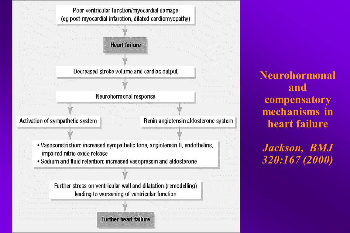 Neurohormonal and compensatory mechanisms in heart failure Jackson, BMJ 320:167 (2000)