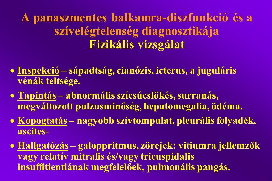 A panaszmentes balkamra-diszfunkció és a szívelégtelenség diagnosztikája Fizikális vizsgálat  Inspekció – sápadtság, cianózis, icterus, a juguláris v