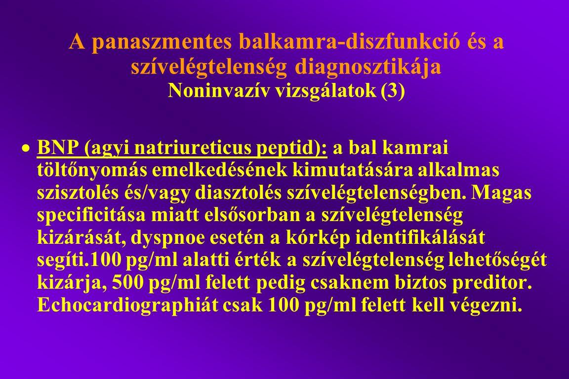 A panaszmentes balkamra-diszfunkció és a szívelégtelenség diagnosztikája Noninvazív vizsgálatok (3)  BNP (agyi natriureticus peptid): a bal kamrai tö