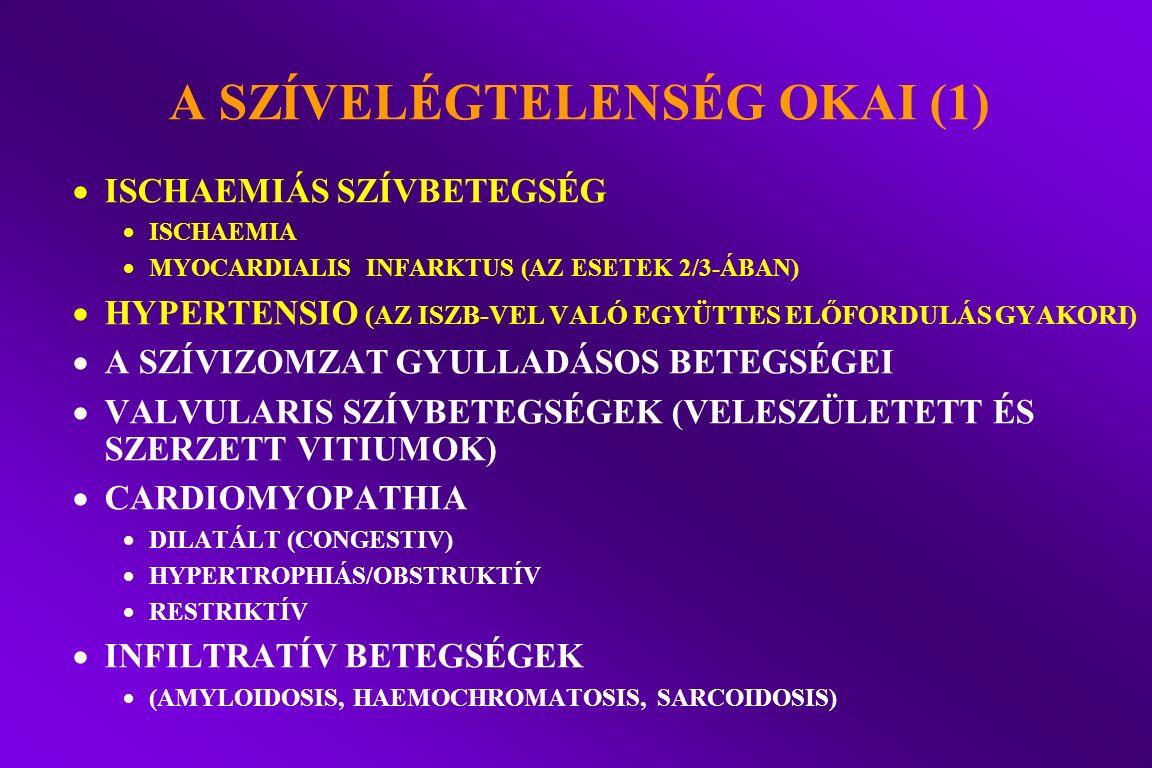 A SZÍVELÉGTELENSÉG OKAI (1)  ISCHAEMIÁS SZÍVBETEGSÉG  ISCHAEMIA  MYOCARDIALIS INFARKTUS (AZ ESETEK 2/3-ÁBAN)  HYPERTENSIO (AZ ISZB-VEL VALÓ EGYÜTT