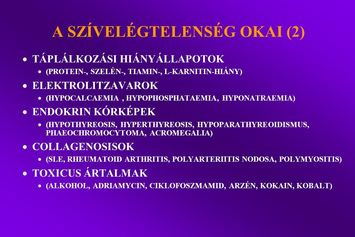 A SZÍVELÉGTELENSÉG OKAI (2)  TÁPLÁLKOZÁSI HIÁNYÁLLAPOTOK  (PROTEIN-, SZELÉN-, TIAMIN-, L-KARNITIN-HIÁNY)  ELEKTROLITZAVAROK  (HYPOCALCAEMIA, HYPOP