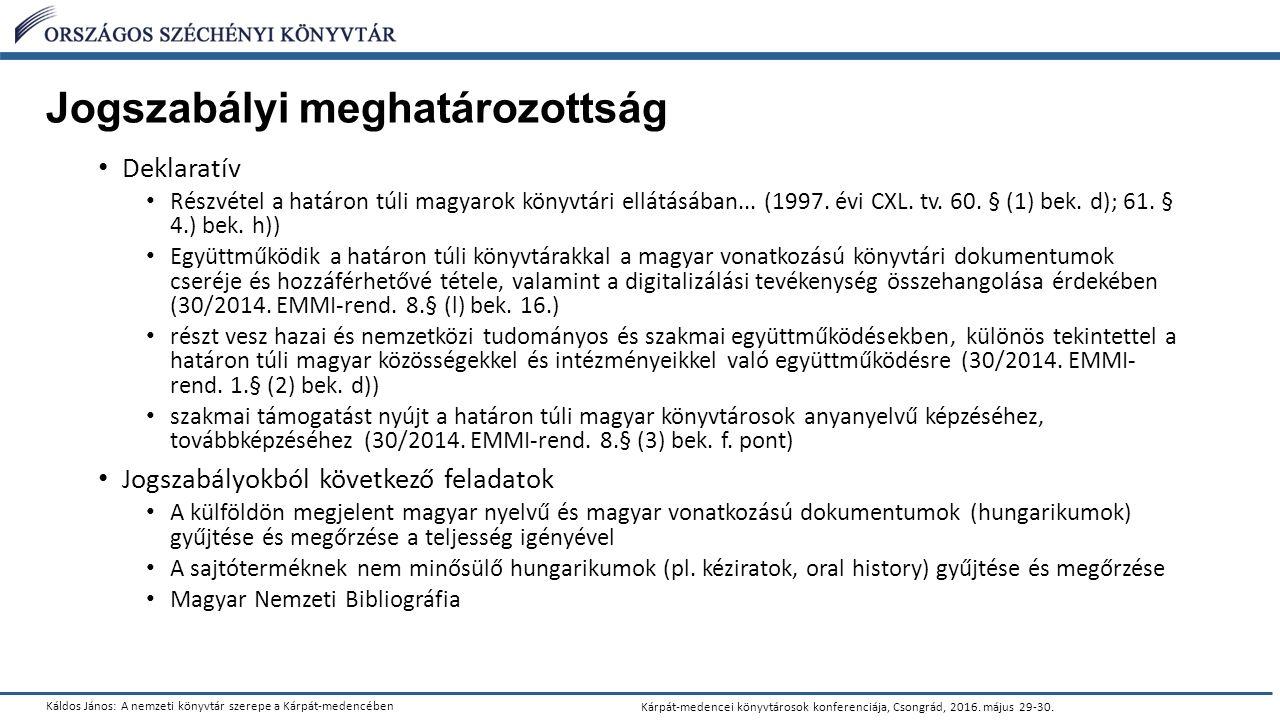 Káldos János: A nemzeti könyvtár szerepe a Kárpát-medencében Kárpát-medencei könyvtárosok konferenciája, Csongrád, 2016.