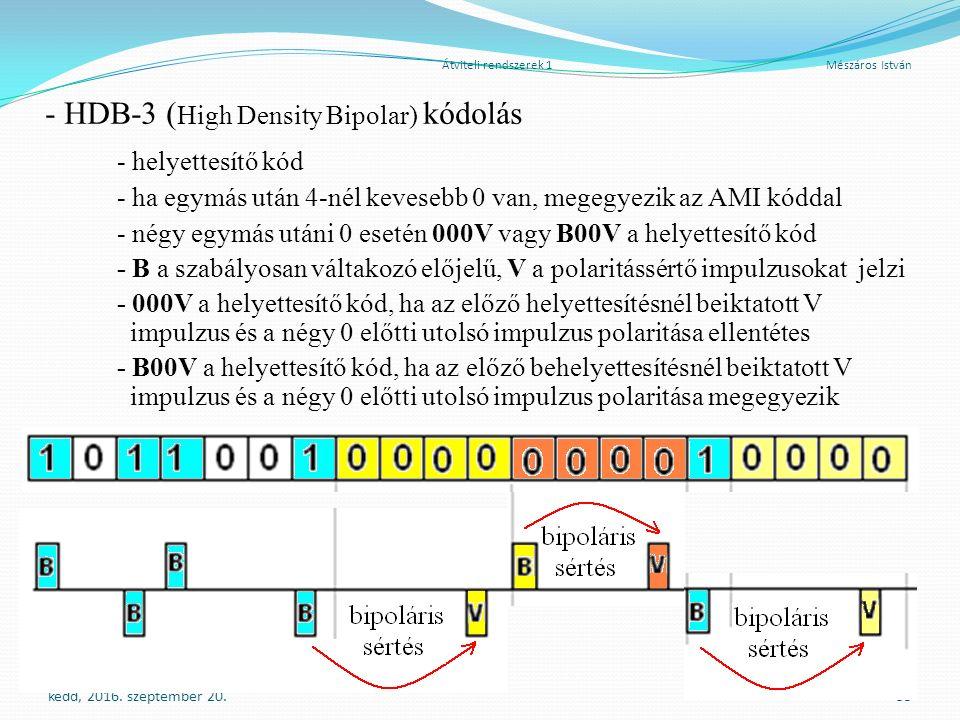 Átviteli rendszerek 1 Mészáros István - HDB-3 ( High Density Bipolar) kódolás - helyettesítő kód - ha egymás után 4-nél kevesebb 0 van, megegyezik az AMI kóddal - négy egymás utáni 0 esetén 000V vagy B00V a helyettesítő kód - B a szabályosan váltakozó előjelű, V a polaritássértő impulzusokat jelzi - 000V a helyettesítő kód, ha az előző helyettesítésnél beiktatott V impulzus és a négy 0 előtti utolsó impulzus polaritása ellentétes - B00V a helyettesítő kód, ha az előző behelyettesítésnél beiktatott V impulzus és a négy 0 előtti utolsó impulzus polaritása megegyezik kedd, 2016.