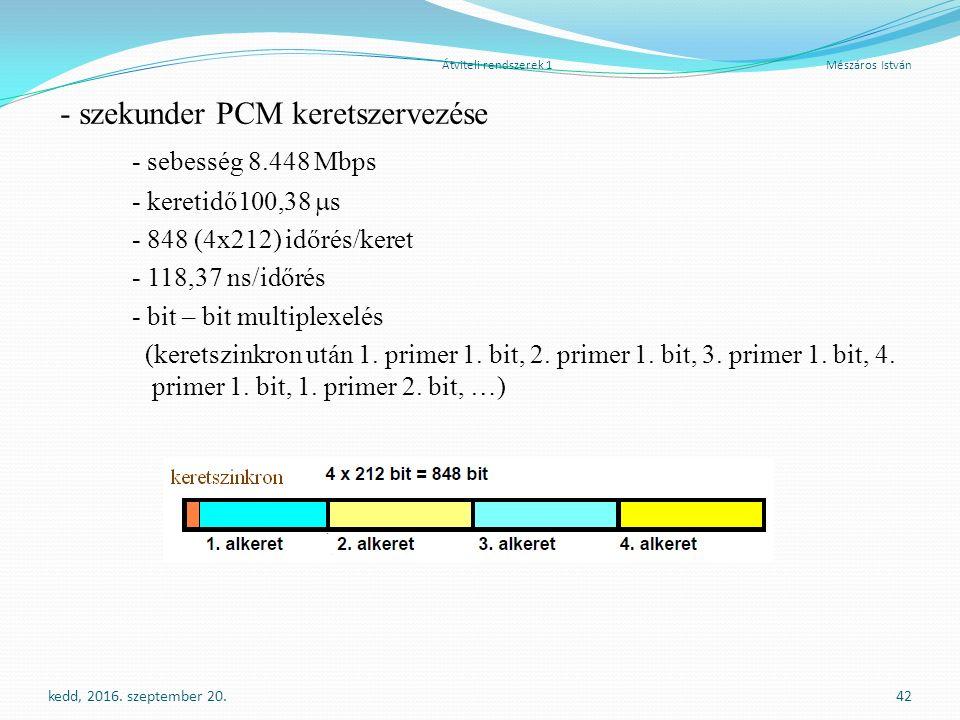 Átviteli rendszerek 1 Mészáros István - szekunder PCM keretszervezése - sebesség 8.448 Mbps - keretidő100,38  s - 848 (4x212) időrés/keret - 118,37 ns/időrés - bit – bit multiplexelés (keretszinkron után 1.