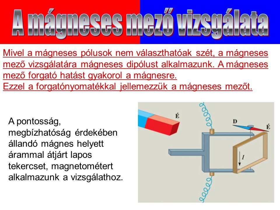 Mivel a mágneses pólusok nem választhatóak szét, a mágneses mező vizsgálatára mágneses dipólust alkalmazunk.