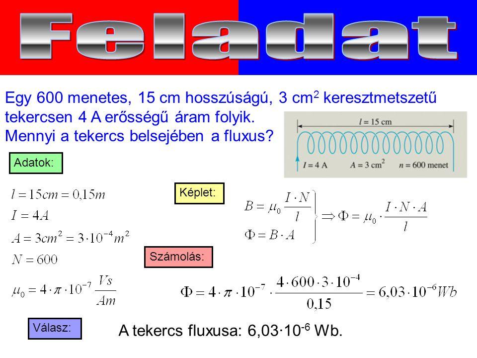 Válasz: Számolás: Képlet: Adatok: Egy 600 menetes, 15 cm hosszúságú, 3 cm 2 keresztmetszetű tekercsen 4 A erősségű áram folyik.