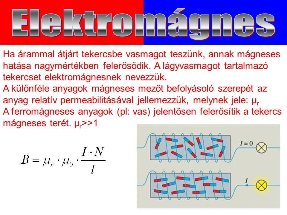Ha árammal átjárt tekercsbe vasmagot teszünk, annak mágneses hatása nagymértékben felerősödik.