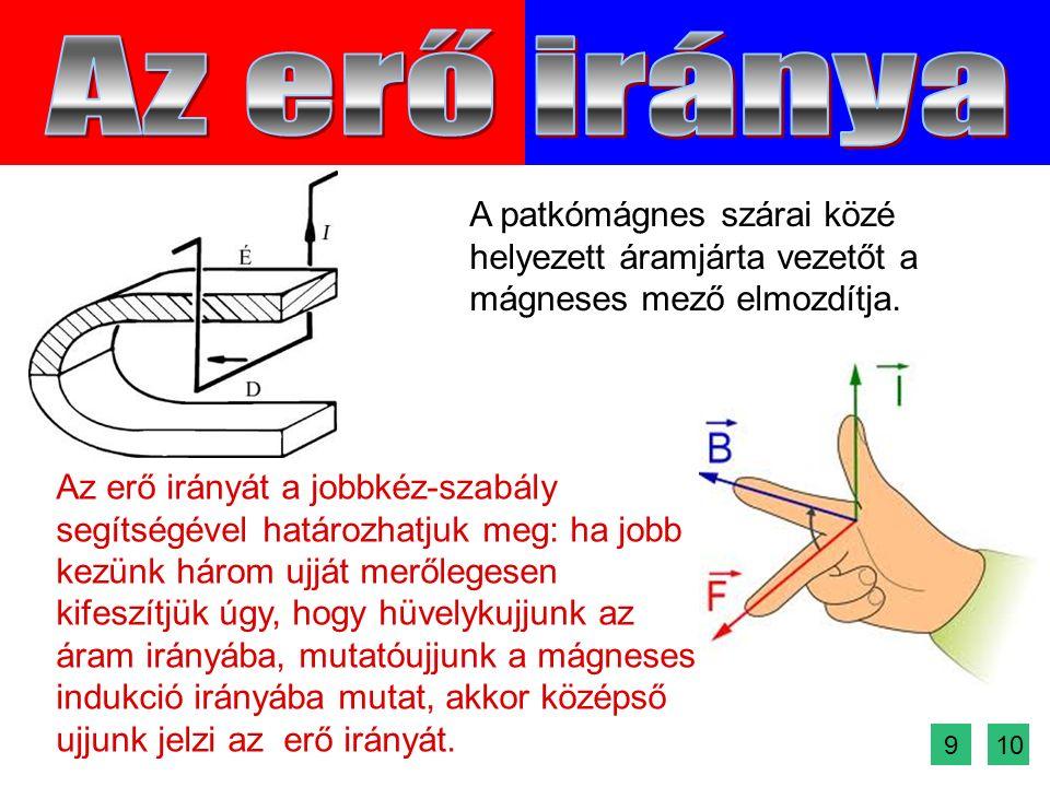 Az erő irányát a jobbkéz-szabály segítségével határozhatjuk meg: ha jobb kezünk három ujját merőlegesen kifeszítjük úgy, hogy hüvelykujjunk az áram irányába, mutatóujjunk a mágneses indukció irányába mutat, akkor középső ujjunk jelzi az erő irányát.