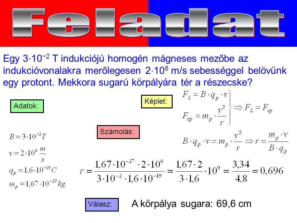 Egy 3 ⋅ 10 −2 T indukciójú homogén mágneses mezőbe az indukcióvonalakra merőlegesen 2 ⋅ 10 6 m/s sebességgel belövünk egy protont.