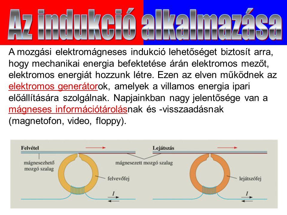 A mozgási elektromágneses indukció lehetőséget biztosít arra, hogy mechanikai energia befektetése árán elektromos mezőt, elektromos energiát hozzunk létre.