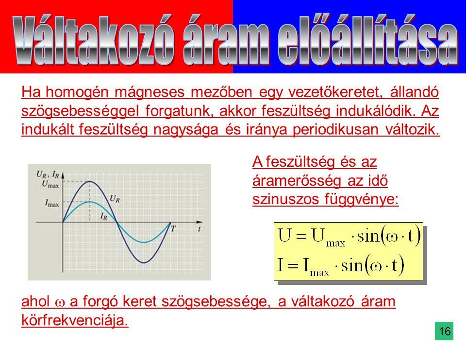 Ha homogén mágneses mezőben egy vezetőkeretet, állandó szögsebességgel forgatunk, akkor feszültség indukálódik.