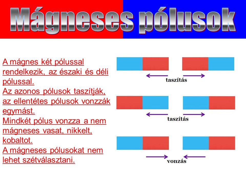 A mágnes két pólussal rendelkezik, az északi és déli pólussal.