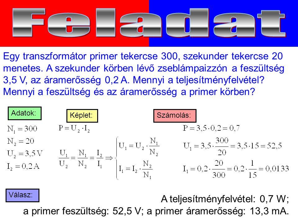 Egy transzformátor primer tekercse 300, szekunder tekercse 20 menetes.