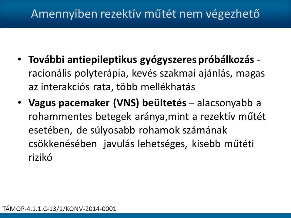 Amennyiben rezektív műtét nem végezhető További antiepileptikus gyógyszeres próbálkozás - racionális polyterápia, kevés szakmai ajánlás, magas az interakciós rata, több mellékhatás Vagus pacemaker (VNS) beültetés – alacsonyabb a rohammentes betegek aránya,mint a rezektív műtét esetében, de súlyosabb rohamok számának csökkenésében javulás lehetséges, kisebb műtéti rizikó TÁMOP-4.1.1.C-13/1/KONV-2014-0001