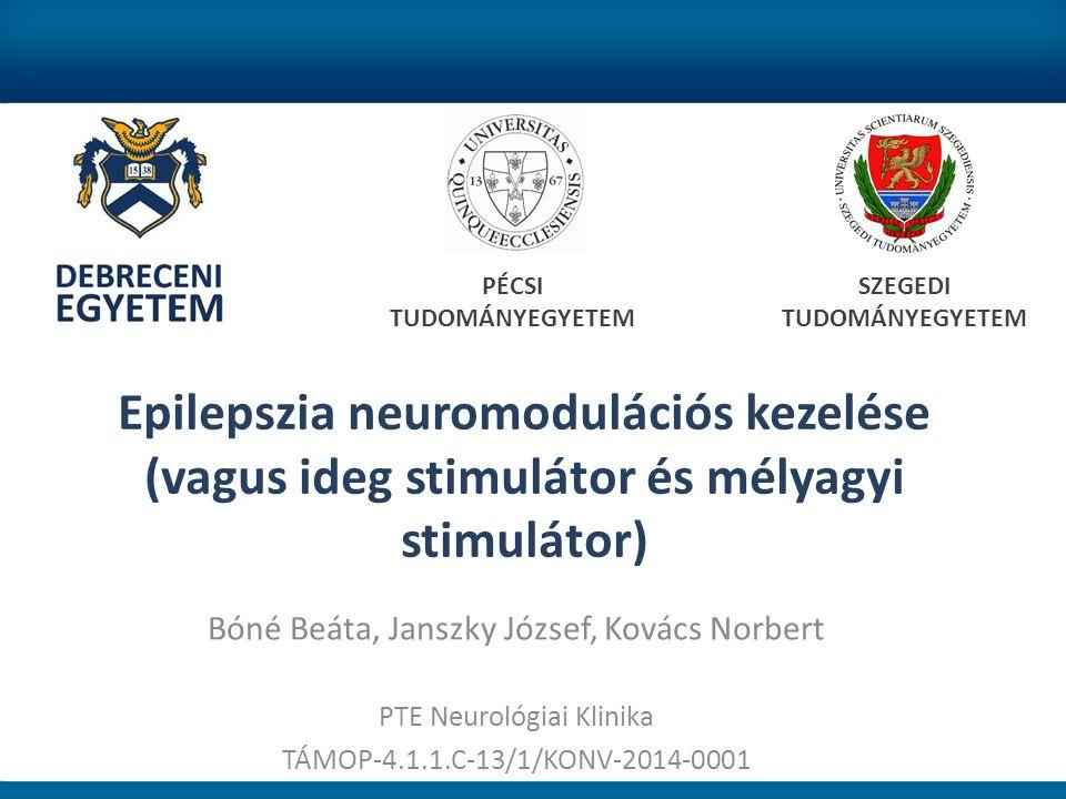 Mellékhatás Optimális contact pozíció esetében nincs jelentős mellékhatás Átmeneti memórizavar vagy depresszió előfordulhat, stimulációs paraméter csökkentésével megszűnik TÁMOP-4.1.1.C-13/1/KONV-2014-0001