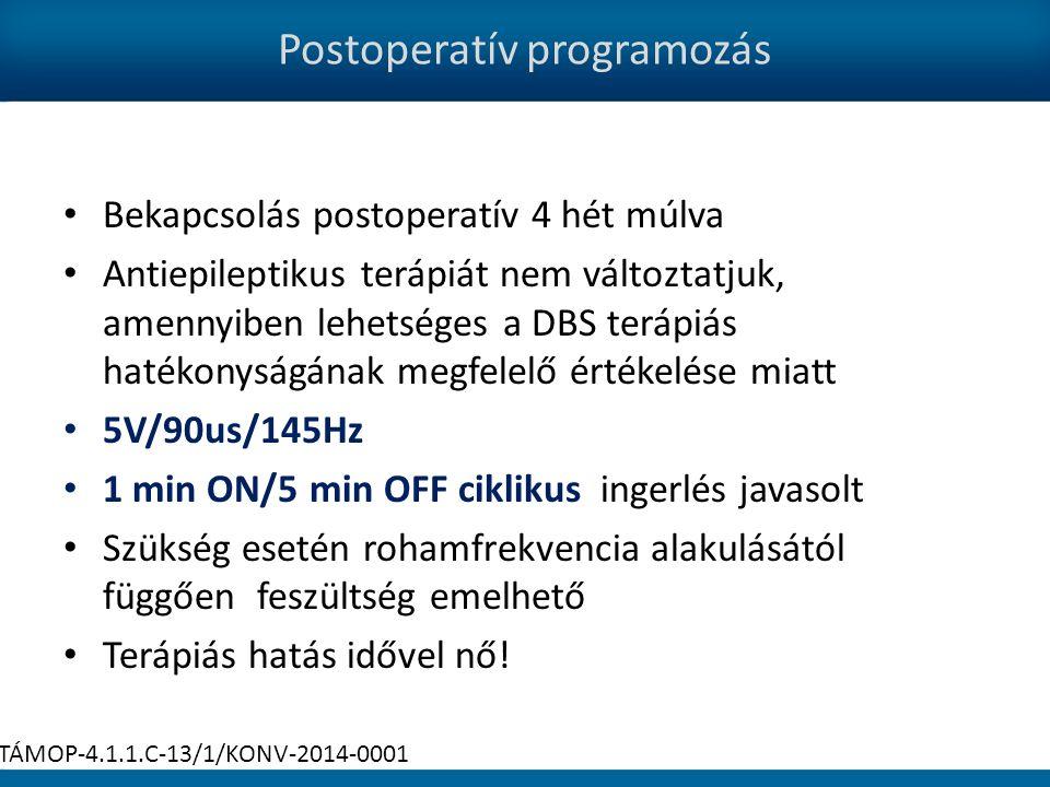 Postoperatív programozás Bekapcsolás postoperatív 4 hét múlva Antiepileptikus terápiát nem változtatjuk, amennyiben lehetséges a DBS terápiás hatékonyságának megfelelő értékelése miatt 5V/90us/145Hz 1 min ON/5 min OFF ciklikus ingerlés javasolt Szükség esetén rohamfrekvencia alakulásától függően feszültség emelhető Terápiás hatás idővel nő.