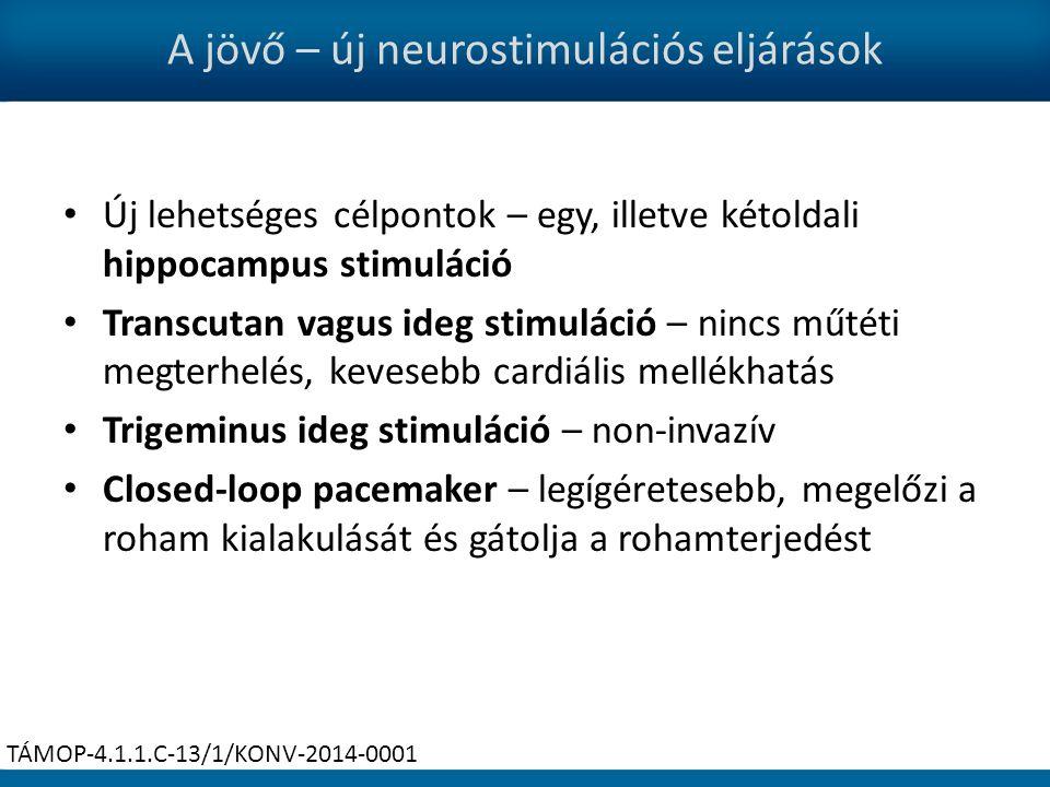 A jövő – új neurostimulációs eljárások Új lehetséges célpontok – egy, illetve kétoldali hippocampus stimuláció Transcutan vagus ideg stimuláció – nincs műtéti megterhelés, kevesebb cardiális mellékhatás Trigeminus ideg stimuláció – non-invazív Closed-loop pacemaker – legígéretesebb, megelőzi a roham kialakulását és gátolja a rohamterjedést TÁMOP-4.1.1.C-13/1/KONV-2014-0001