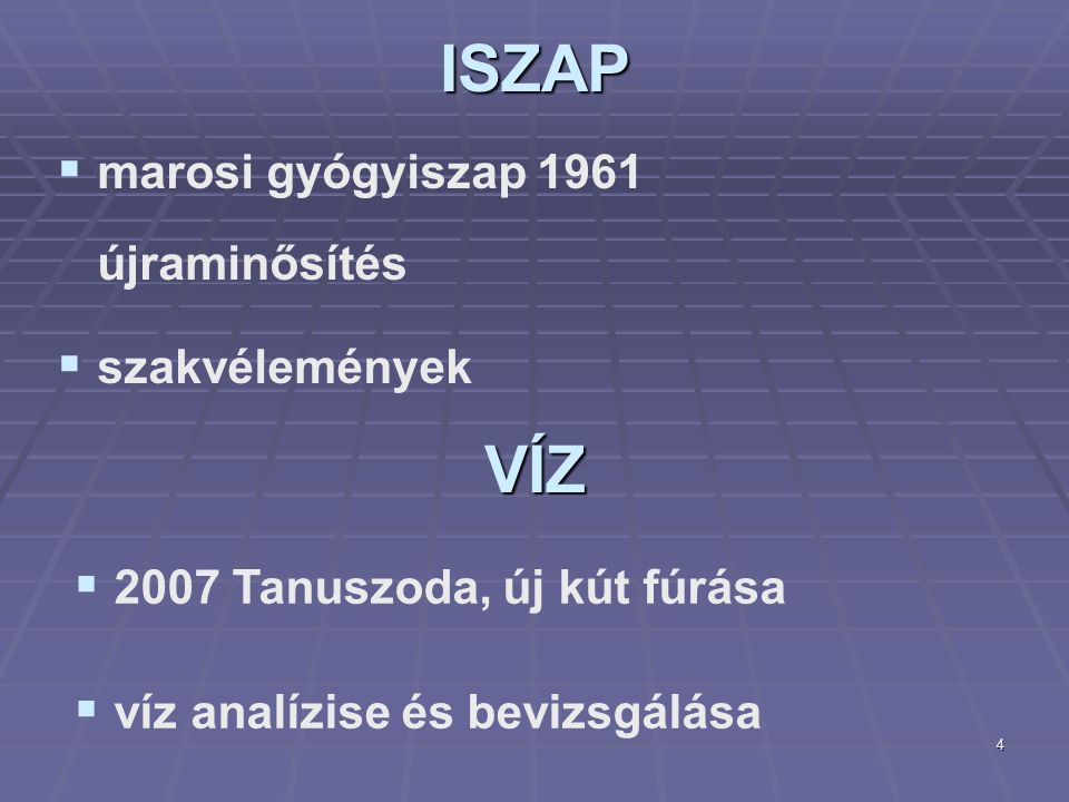4ISZAP   marosi gyógyiszap 1961 újraminősítés   szakvélemények VÍZ  2007 Tanuszoda, új kút fúrása  víz analízise és bevizsgálása