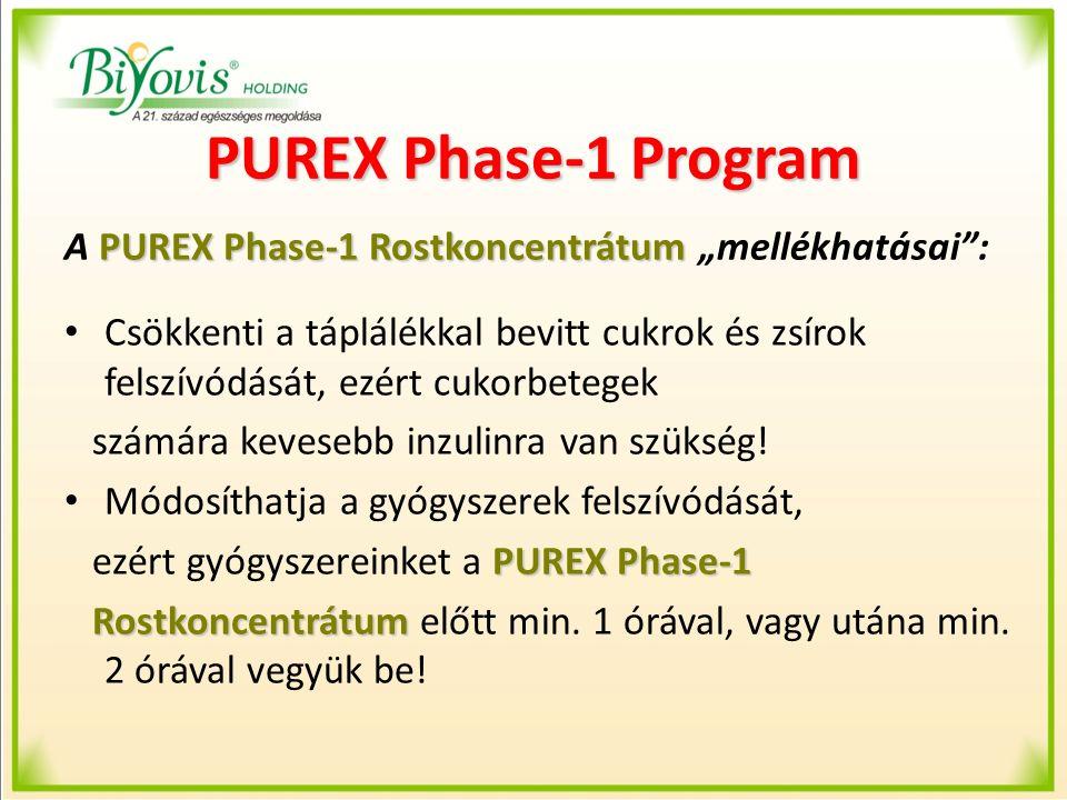 """PUREX Phase-1 Program PUREX Phase-1 Rostkoncentrátum A PUREX Phase-1 Rostkoncentrátum """"mellékhatásai"""": Csökkenti a táplálékkal bevitt cukrok és zsírok"""