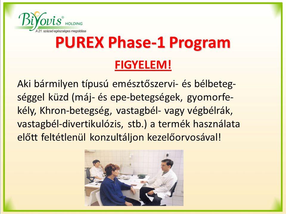 PUREX Phase-1 Program FIGYELEM! Aki bármilyen típusú emésztőszervi- és bélbeteg- séggel küzd (máj- és epe-betegségek, gyomorfe- kély, Khron-betegség,