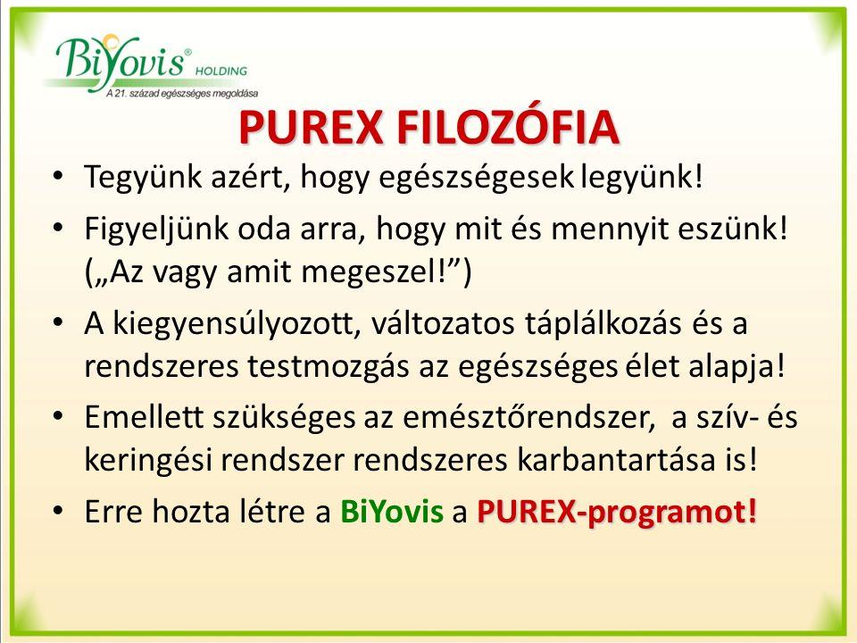 """PUREX FILOZÓFIA Tegyünk azért, hogy egészségesek legyünk! Figyeljünk oda arra, hogy mit és mennyit eszünk! (""""Az vagy amit megeszel!"""") A kiegyensúlyozo"""