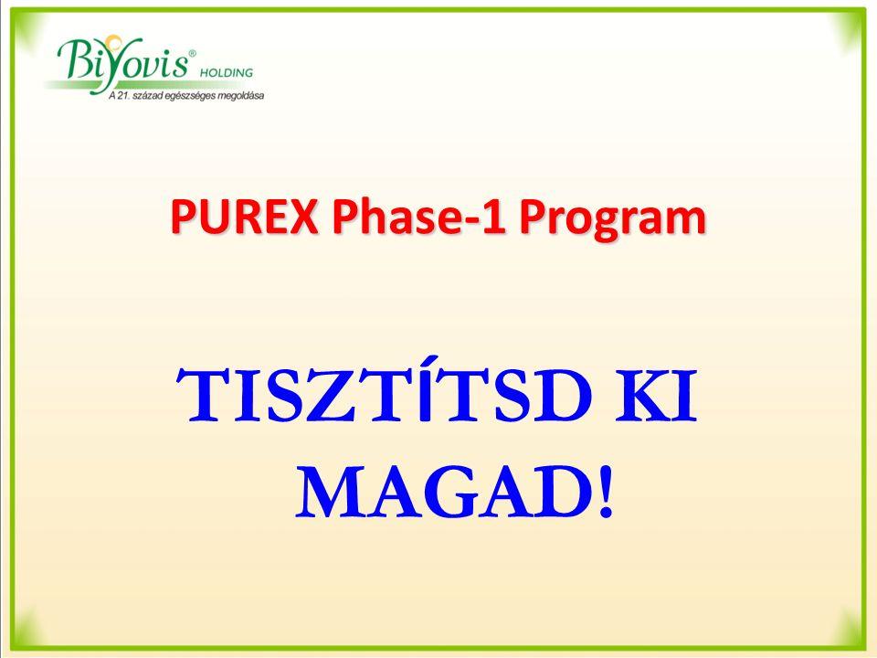 PUREX Phase-1 Program PUREX Phase-1 Kapszula PUREX Phase-1 Kapszula összetevői: 7 féle gyógynövény 5:1 arányú, nagytisz- taságú kivonatát tartalmazza: Cynara scolymus (Articsóka) Foeniculum vulgare (Kömény) Mentha piperita (Borsmenta) Allium sativum (Fokhagyma) Cucurbita moschata (Pézsmatök) Illicium verum (Csillagánizs) Curcuma longa (Kurkuma)