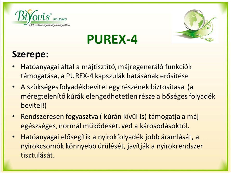 PUREX-4 Szerepe: Hatóanyagai által a májtisztító, májregeneráló funkciók támogatása, a PUREX-4 kapszulák hatásának erősítése A szükséges folyadékbevitel egy részének biztosítása (a méregtelenítő kúrák elengedhetetlen része a bőséges folyadék bevitel!) Rendszeresen fogyasztva ( kúrán kívül is) támogatja a máj egészséges, normál működését, véd a károsodásoktól.