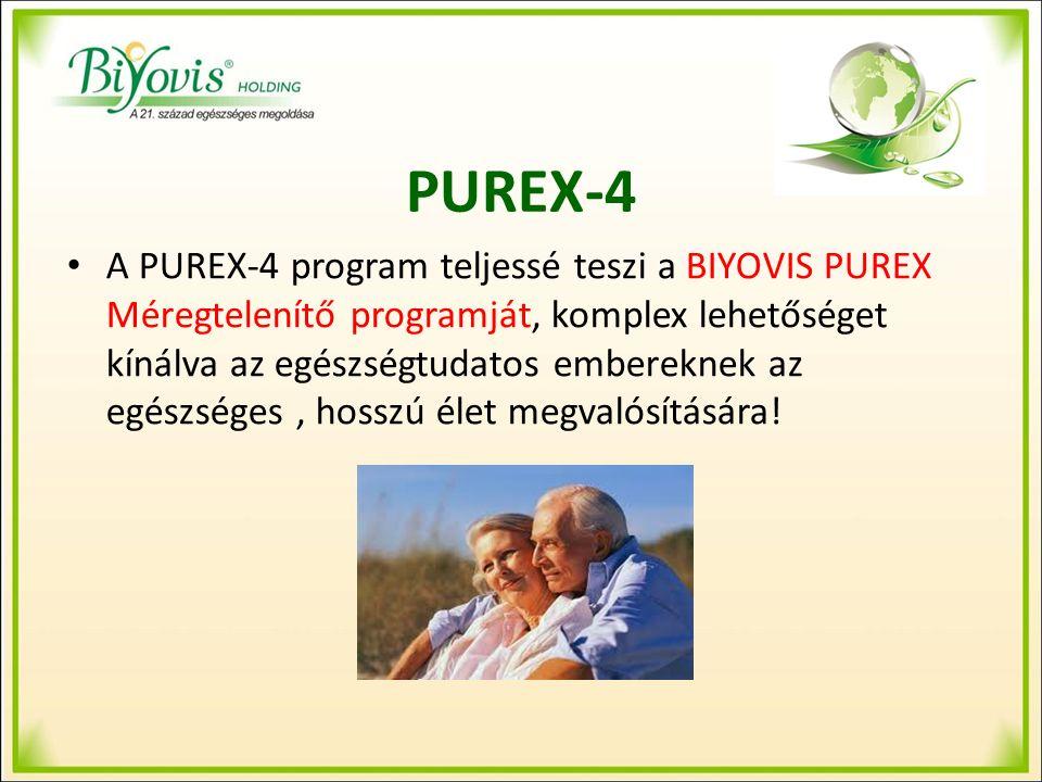 PUREX-4 A PUREX-4 program teljessé teszi a BIYOVIS PUREX Méregtelenítő programját, komplex lehetőséget kínálva az egészségtudatos embereknek az egészséges, hosszú élet megvalósítására!