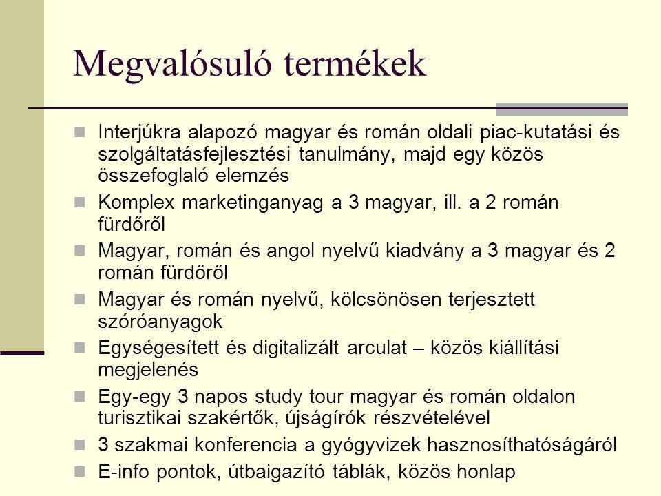Megvalósuló termékek Interjúkra alapozó magyar és román oldali piac-kutatási és szolgáltatásfejlesztési tanulmány, majd egy közös összefoglaló elemzés
