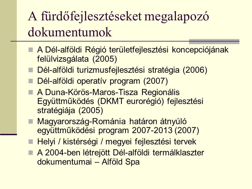 A fürdőfejlesztéseket megalapozó dokumentumok A Dél-alföldi Régió területfejlesztési koncepciójának felülvizsgálata (2005) Dél-alföldi turizmusfejlesz