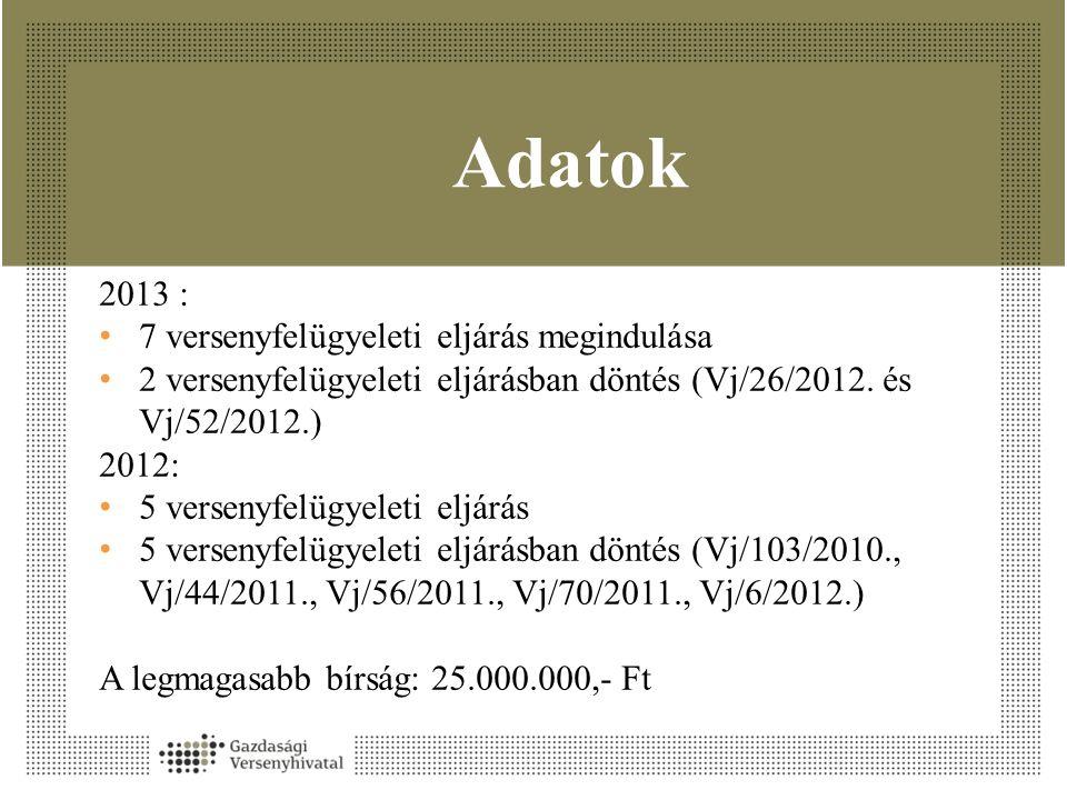 Adatok 2013 : 7 versenyfelügyeleti eljárás megindulása 2 versenyfelügyeleti eljárásban döntés (Vj/26/2012.