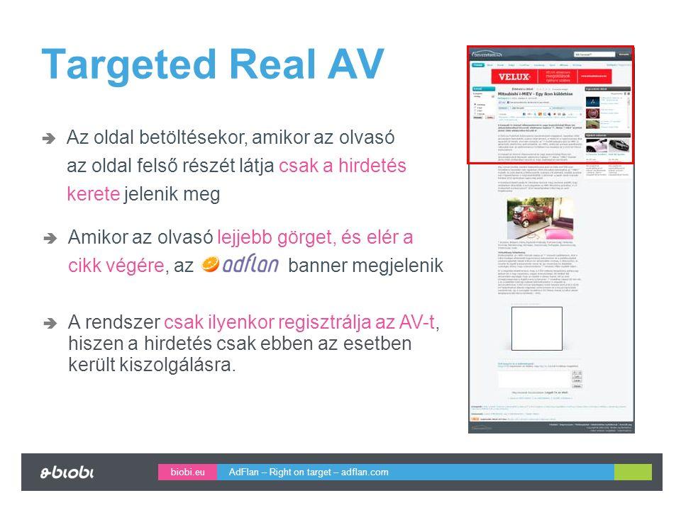 biobi.eu Targeted Real AV  Az oldal betöltésekor, amikor az olvasó az oldal felső részét látja csak a hirdetés kerete jelenik meg  Amikor az olvasó lejjebb görget, és elér a cikk végére, az banner megjelenik  A rendszer csak ilyenkor regisztrálja az AV-t, hiszen a hirdetés csak ebben az esetben került kiszolgálásra.
