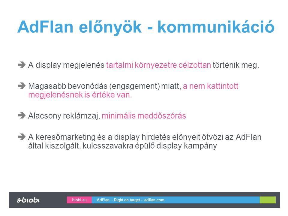 biobi.eu AdFlan előnyök - kommunikáció  A display megjelenés tartalmi környezetre célzottan történik meg.