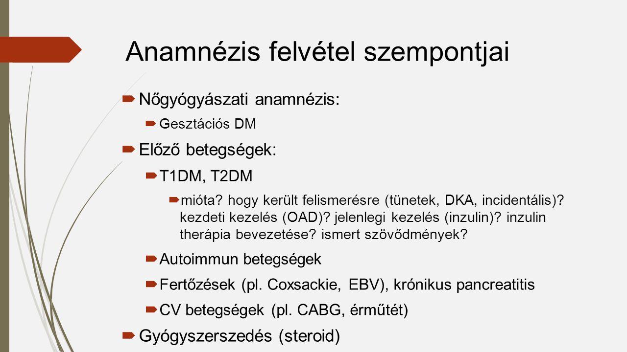  Nőgyógyászati anamnézis:  Gesztációs DM  Előző betegségek:  T1DM, T2DM  mióta? hogy került felismerésre (tünetek, DKA, incidentális)? kezdeti ke