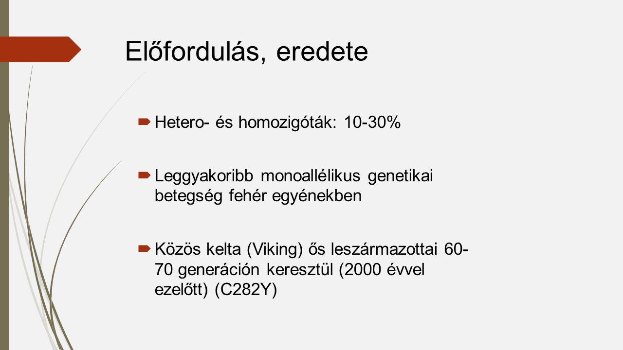  Hetero- és homozigóták: 10-30%  Leggyakoribb monoallélikus genetikai betegség fehér egyénekben  Közös kelta (Viking) ős leszármazottai 60- 70 generáción keresztül (2000 évvel ezelőtt) (C282Y) Előfordulás, eredete