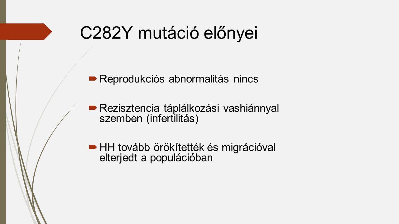  Reprodukciós abnormalitás nincs  Rezisztencia táplálkozási vashiánnyal szemben (infertilitás)  HH tovább örökítették és migrációval elterjedt a populációban C282Y mutáció előnyei