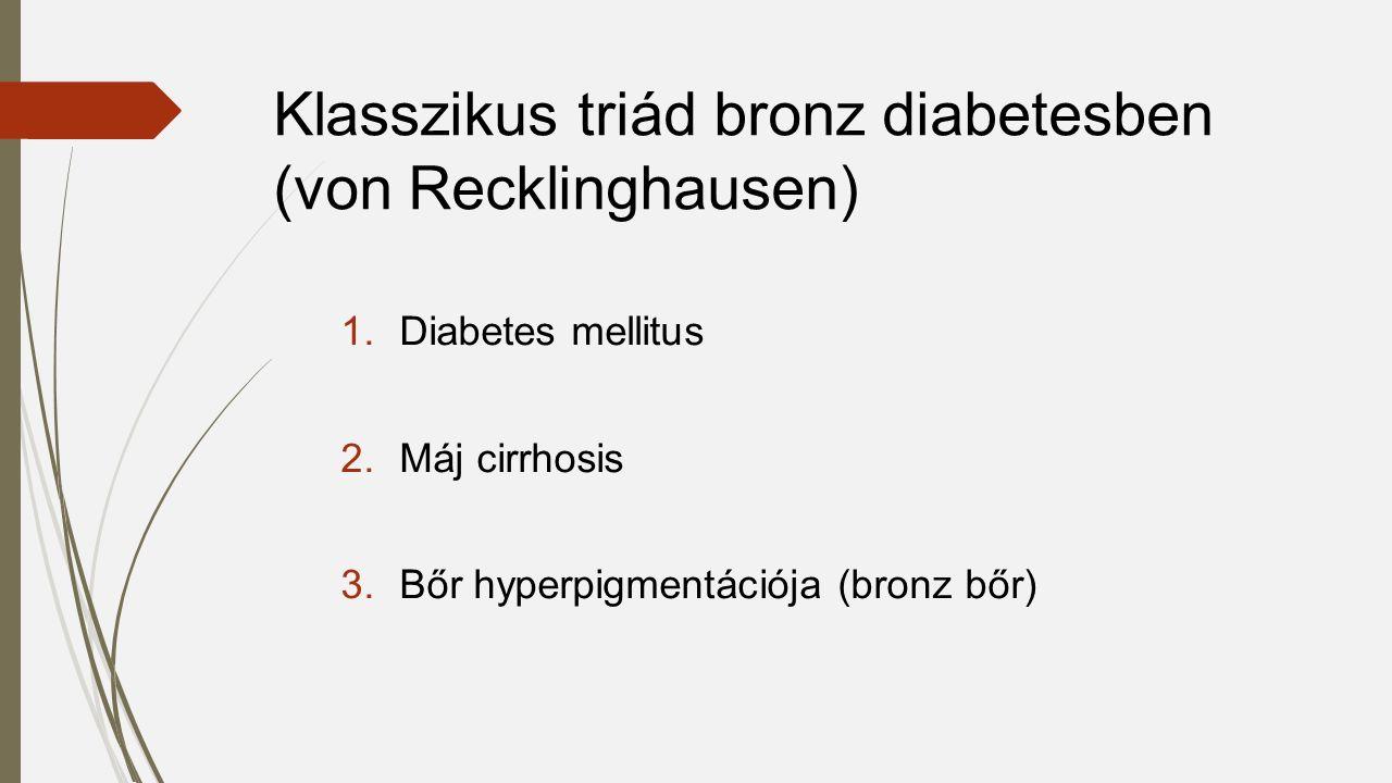 Klasszikus triád bronz diabetesben (von Recklinghausen) 1.Diabetes mellitus 2.Máj cirrhosis 3.Bőr hyperpigmentációja (bronz bőr)