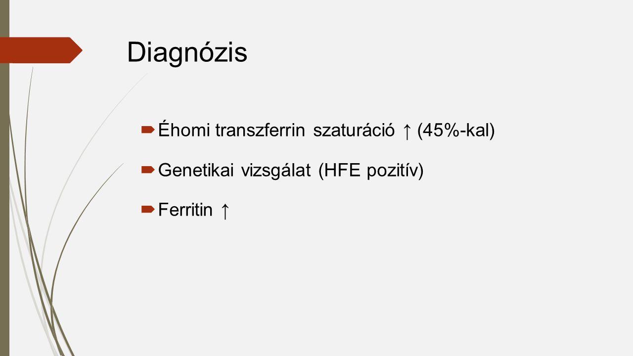  Éhomi transzferrin szaturáció ↑ (45%-kal)  Genetikai vizsgálat (HFE pozitív)  Ferritin ↑ Diagnózis