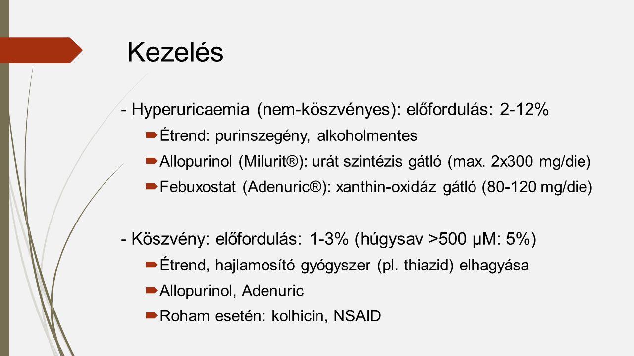 - Hyperuricaemia (nem-köszvényes): előfordulás: 2-12%  Étrend: purinszegény, alkoholmentes  Allopurinol (Milurit®): urát szintézis gátló (max. 2x300