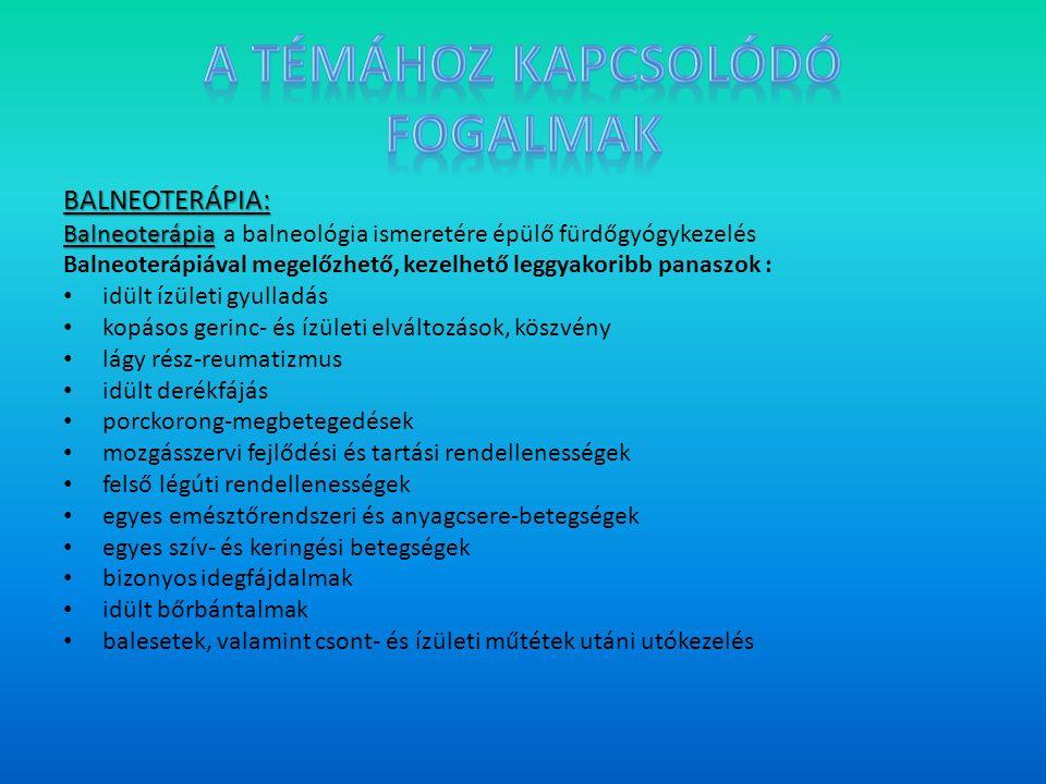 BALNEOTERÁPIA: Balneoterápia Balneoterápia a balneológia ismeretére épülő fürdőgyógykezelés Balneoterápiával megelőzhető, kezelhető leggyakoribb panaszok : idült ízületi gyulladás kopásos gerinc- és ízületi elváltozások, köszvény lágy rész-reumatizmus idült derékfájás porckorong-megbetegedések mozgásszervi fejlődési és tartási rendellenességek felső légúti rendellenességek egyes emésztőrendszeri és anyagcsere-betegségek egyes szív- és keringési betegségek bizonyos idegfájdalmak idült bőrbántalmak balesetek, valamint csont- és ízületi műtétek utáni utókezelés