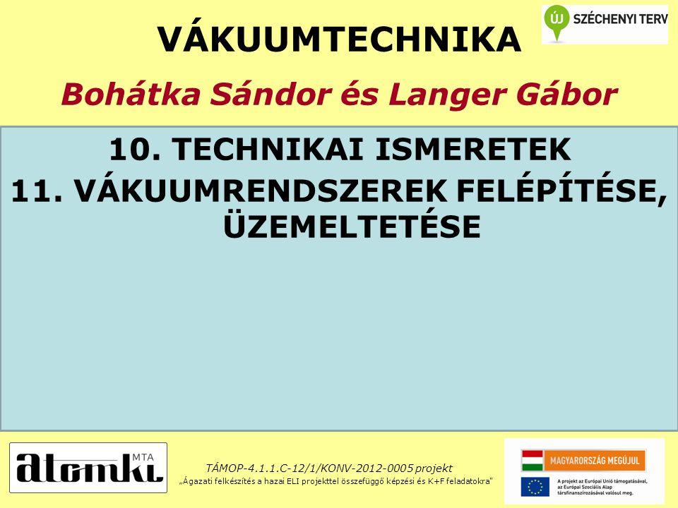 VÁKUUMTECHNIKA Bohátka Sándor és Langer Gábor 10. TECHNIKAI ISMERETEK 11.